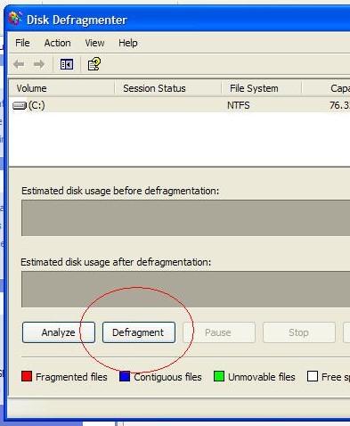 Windows Defrag Tool Screen