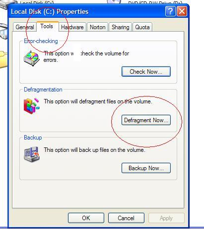 Windows XP Disk Defragmenter